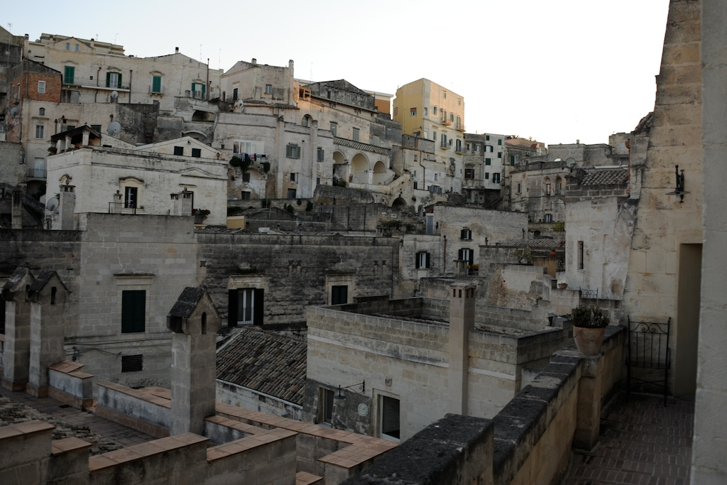 Stadtansicht von Matera, die Sassi Häuser