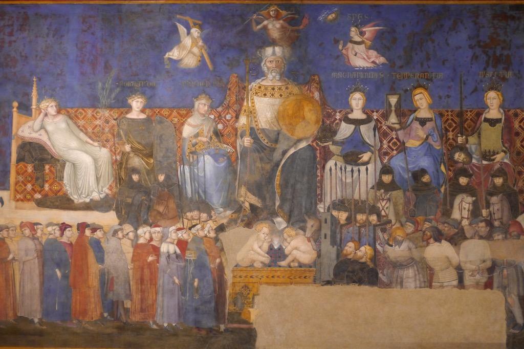 Fresko von Ambrogio Lorenzetti mit der Guten Regierung in Siena