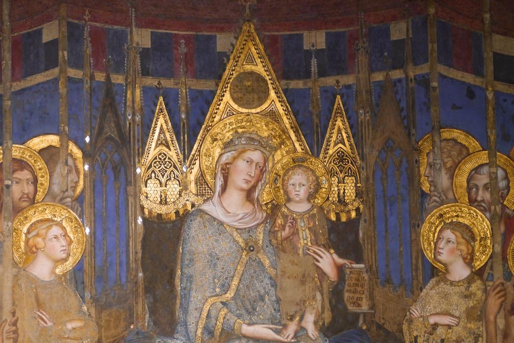Ausschnitt aus dem Maesta Fresko von Simone Martini in Siena