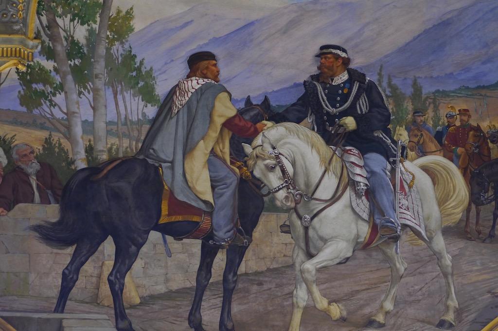 Fresko im Rathaus von Siena mit dem Handschlag von Teano