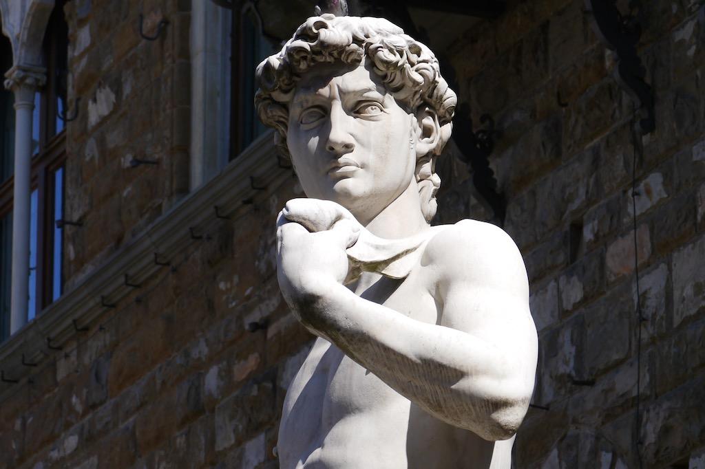 Michelangelos David vor dem Palazzo Vecchio.
