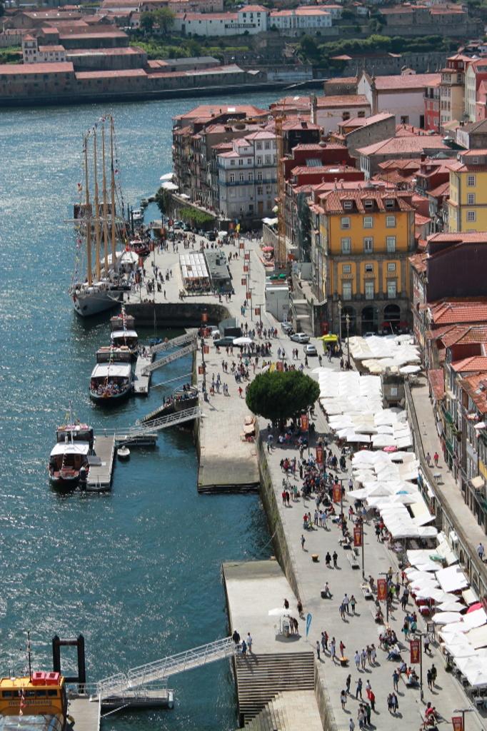 IPorto, Touristenmeile am Fluss von oben