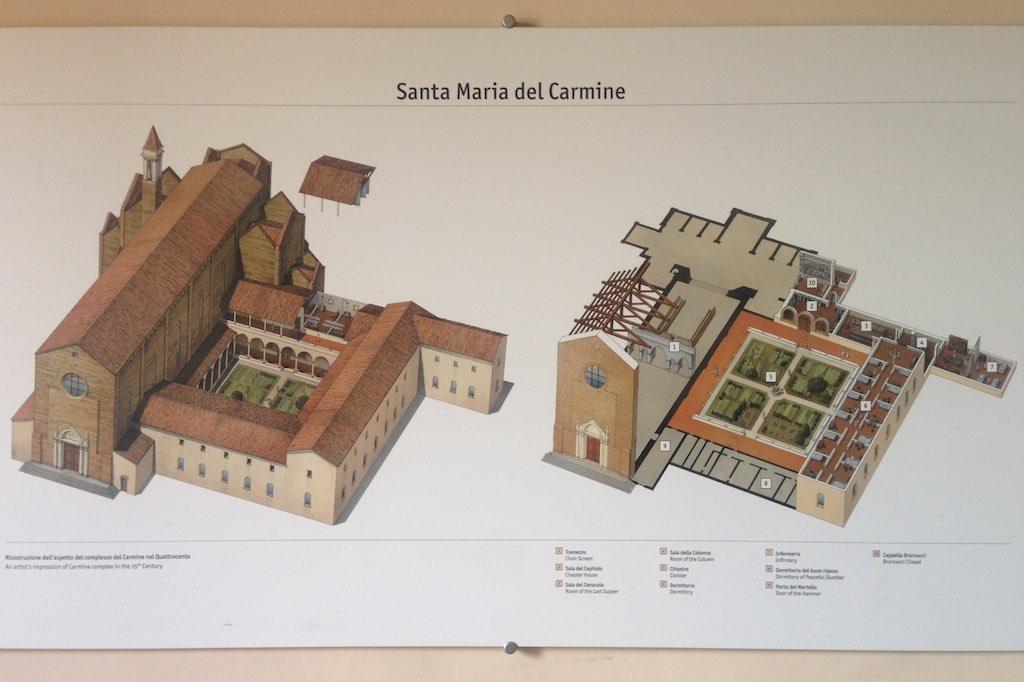 Aufriss Zeichnung der Carmine Kirche in Florenz.