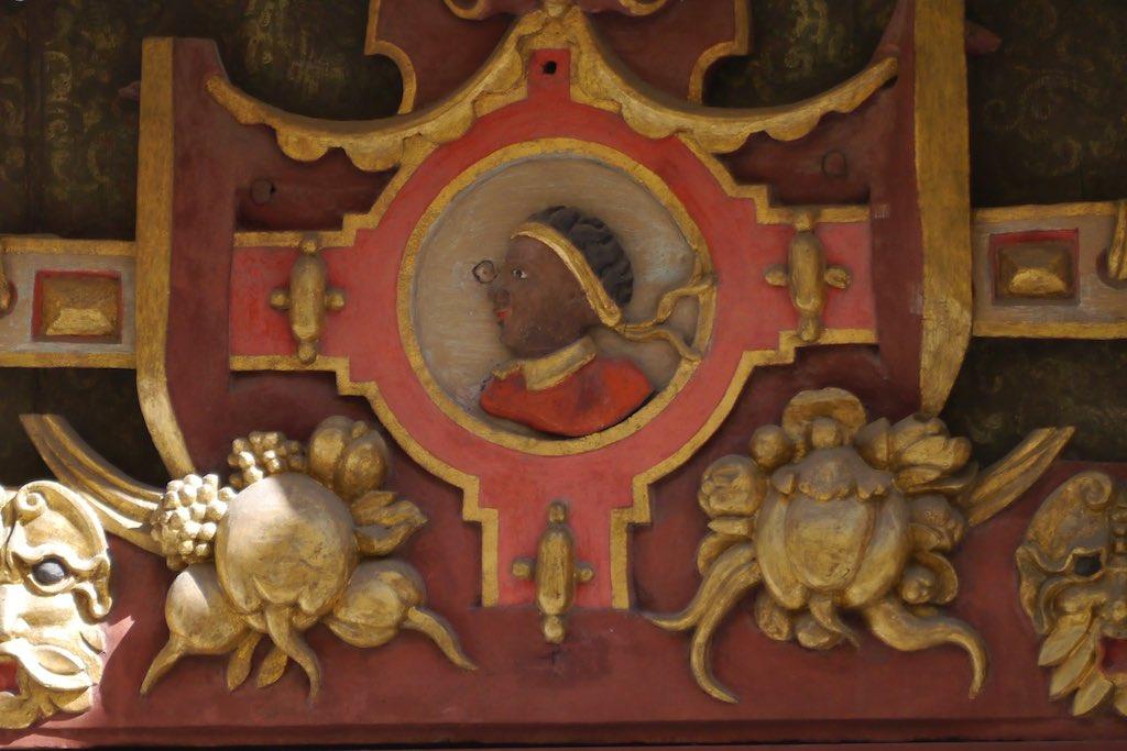 Der heilige Mauritus. Detail vom Schwarzhäupter-Haus in Tallinn