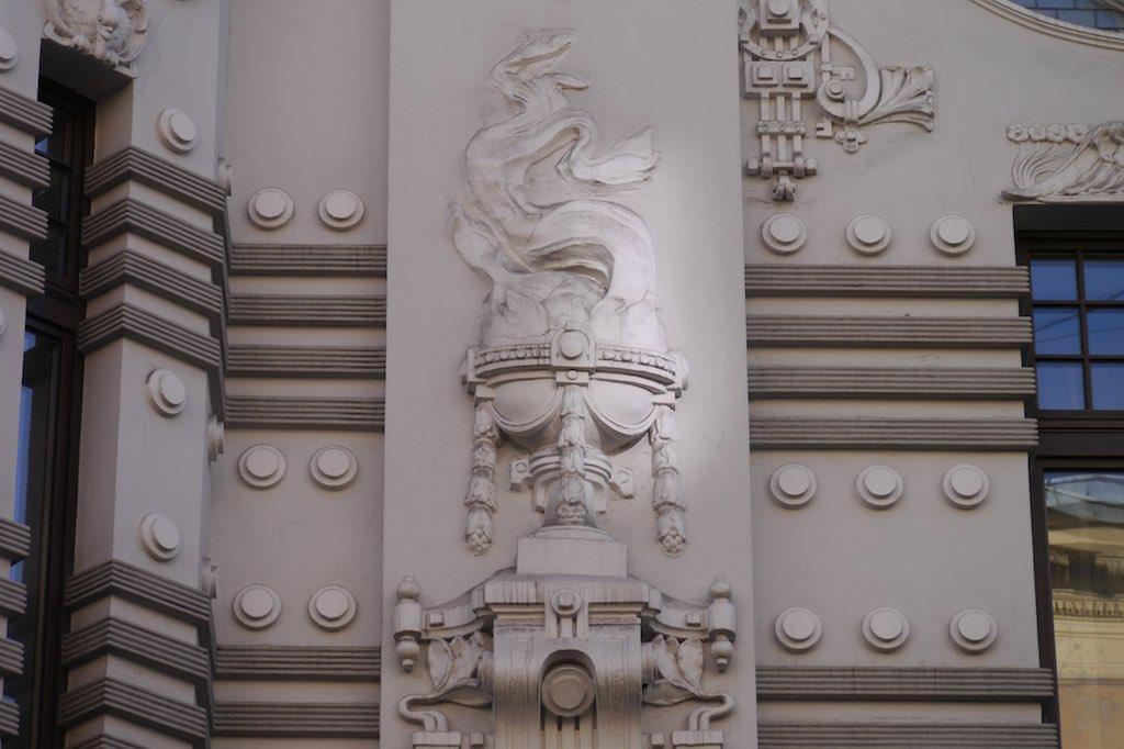 Ornament an einem Gebäude Michael Eisensteins.