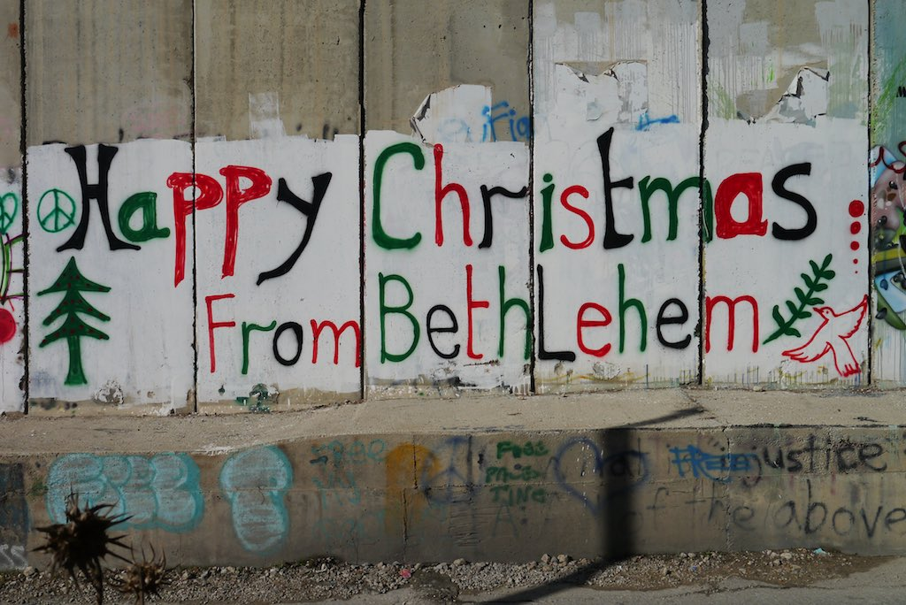 Graffiti an der Mauer in Bethlehem: Happy Christmas