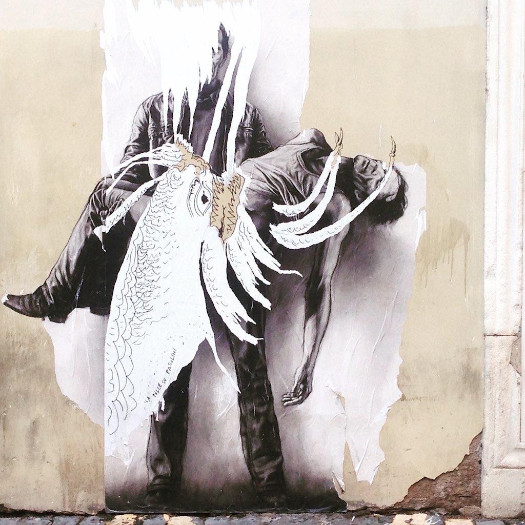Graffiti im Ghetto von Rom.