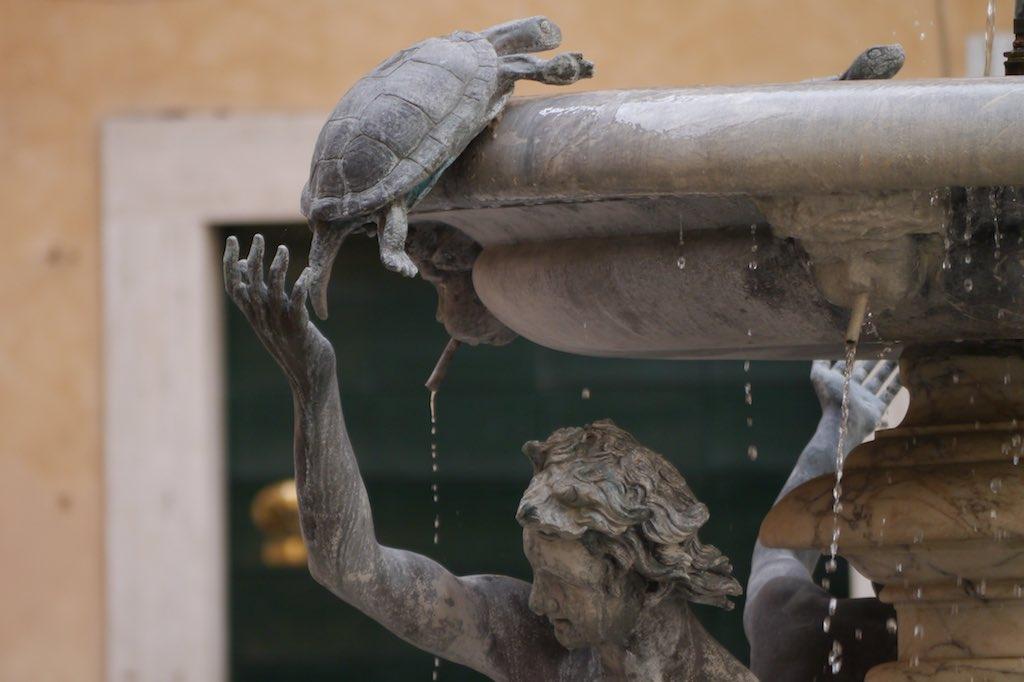 Detail des Schildkröten-Brunnens in Rom.