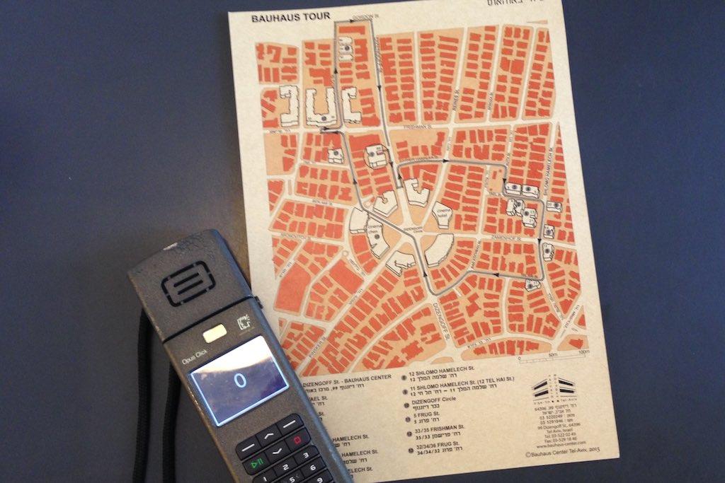 Karte mit Bauhaus Tour durch die weiße Stadt in Tel Aviv.