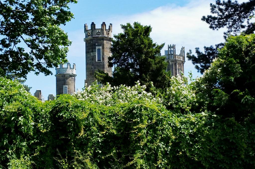 Zinnen im schottischen Stil, vielleicht inspiriert von einem schottischen Lord, der hier um 1800 in Weinberge investierte. Das Schloss Eckberg entstand allerdings erst lange nach seinem Tod.