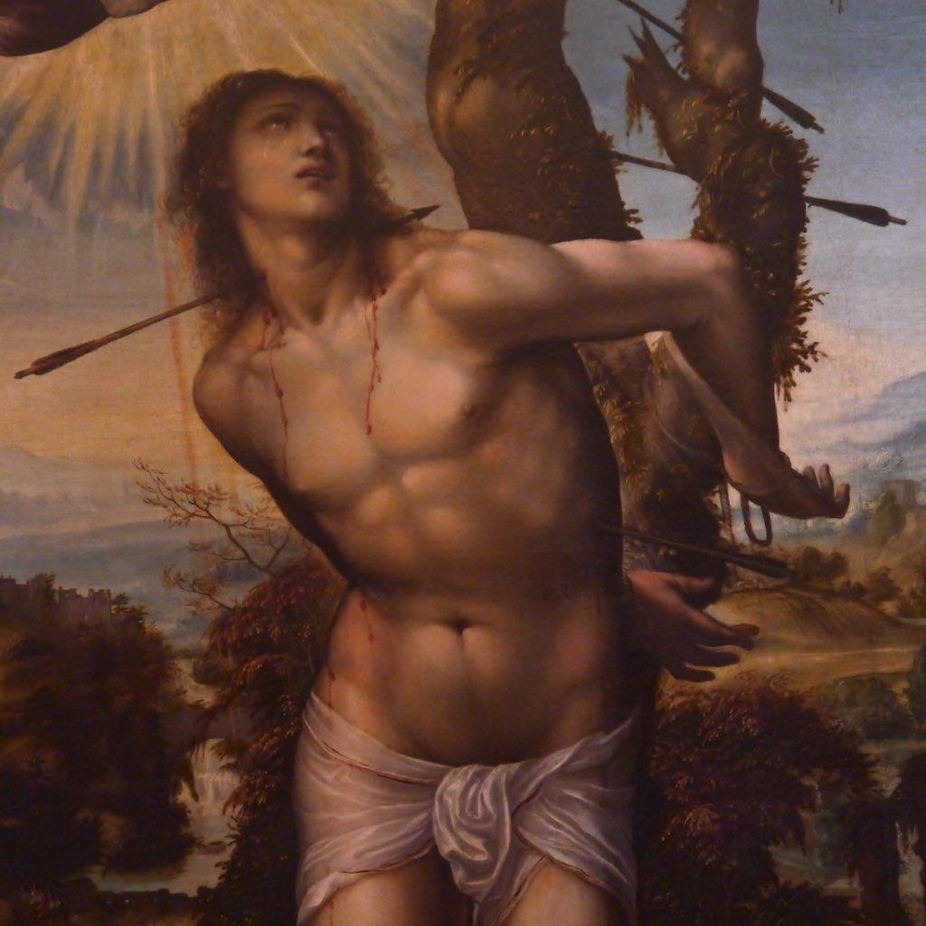 Giovanni Antonio Bazzi, genannt Sodoma: Heiliger Sebastian, Uffizien in Florenz. Ein junger Mann mit nacktem Oberkörper an einen Baum gefesselt