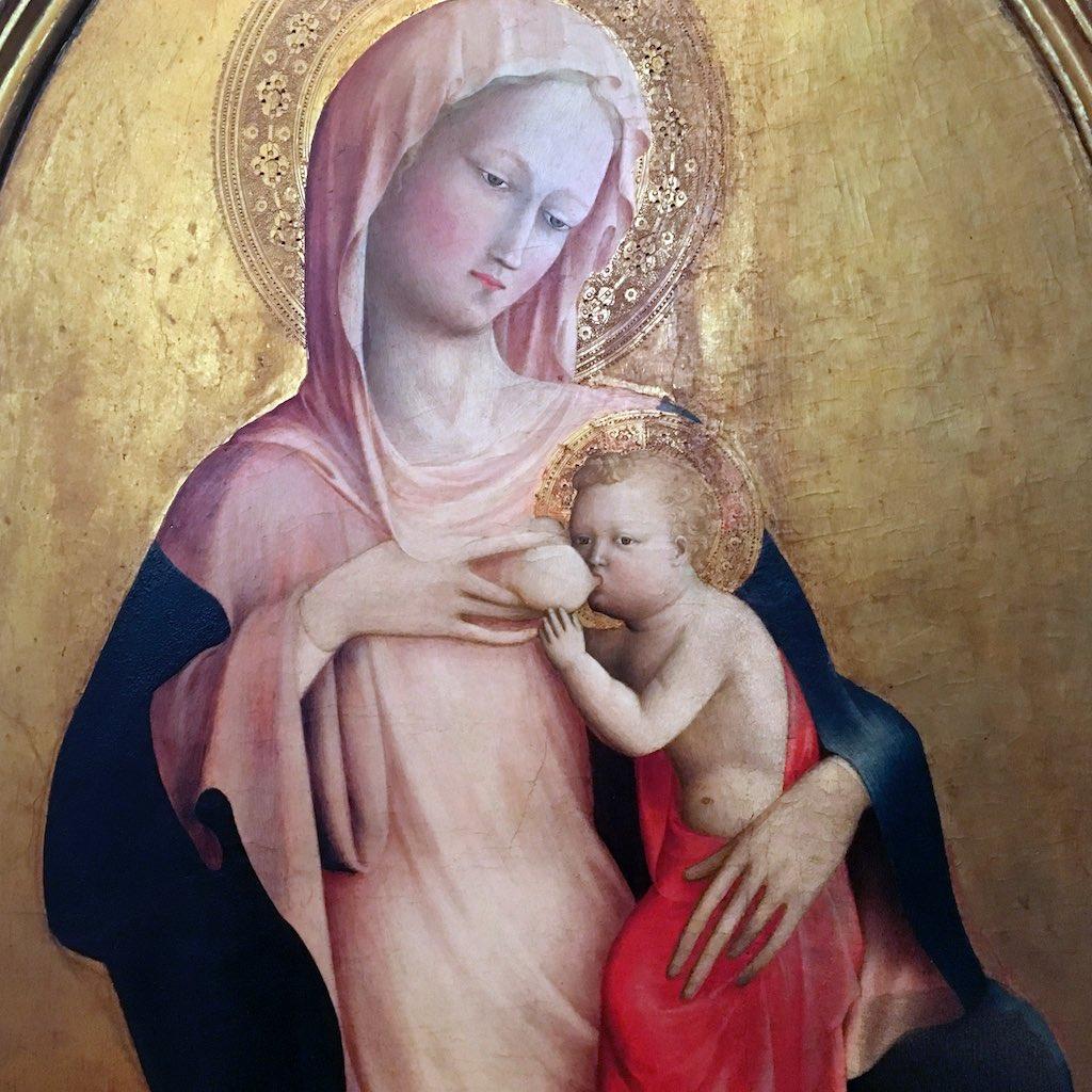Die Mutter Maria in einem rosa Gewand mit blauem Mantel vor einem Goldgrund aus den Uffizien in Florenz