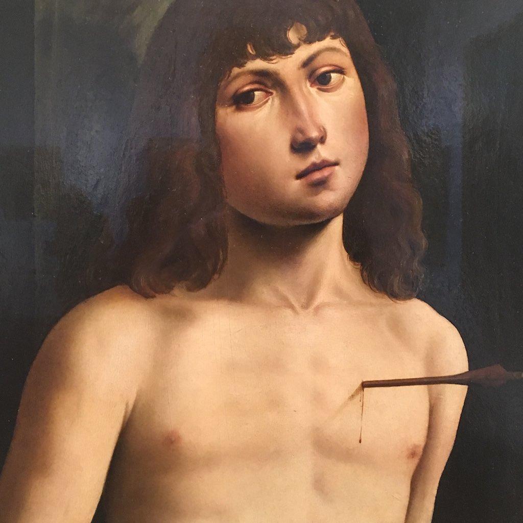 Die Büste eines Knaben mit einem Pfeil in der Brust