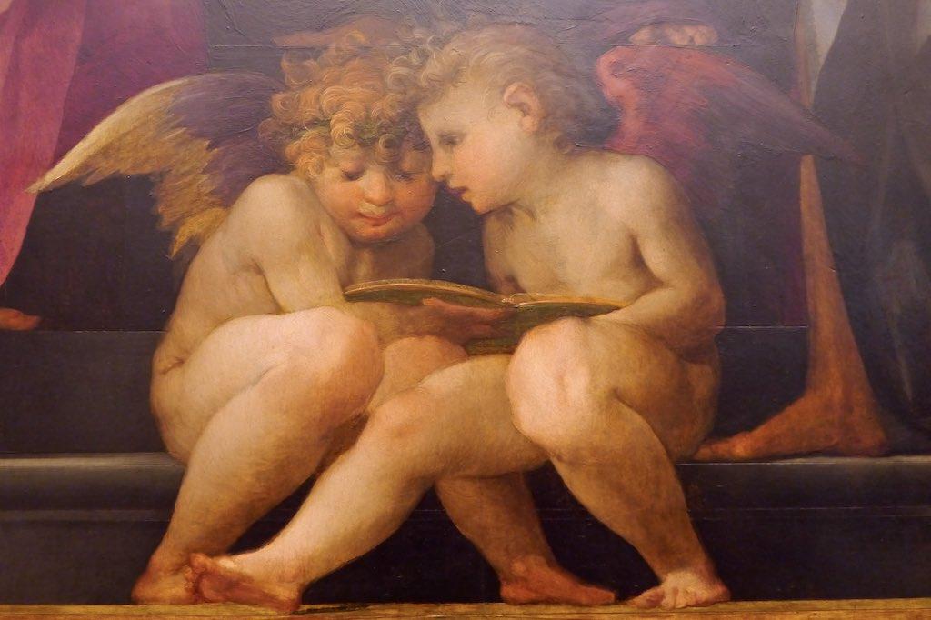 Rosso Fiorentino setzt zwei Puten zu Füßen der Madonna. Sie lesen in einem Buch. Wollen sie auch mit diskutieren?