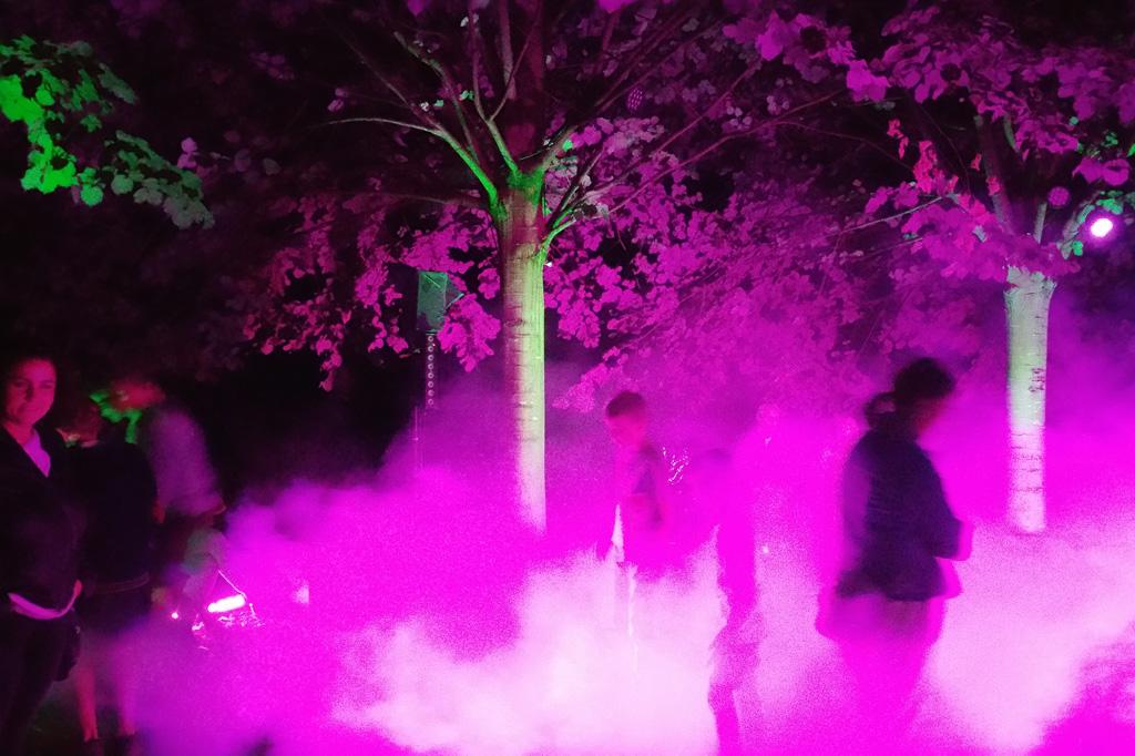 """Der Park um Schloss Dyck ist so geräumig, dass die """"Baum-Disco"""" flackert und wummert, ohne den Gesamteindruck zu stören."""
