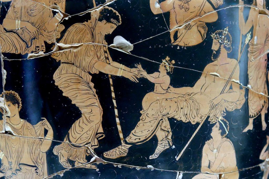 Rotfigurige Vase aus dem MARTA in Tarent. Aus dem Schenkel des Zeus entspringt der Weingott Dionysos