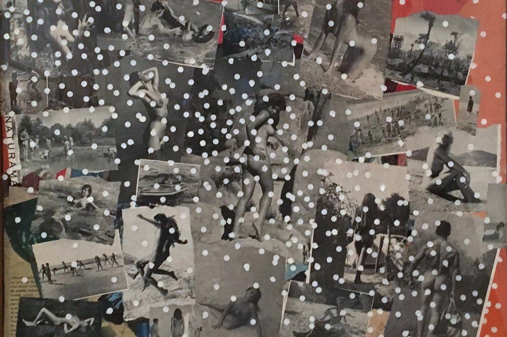 Eine Collage aus Fotos und Postkarten, auf denen nackte Körper abgebildet sind. Aus dem Museum Reina Sofia in Madrid.