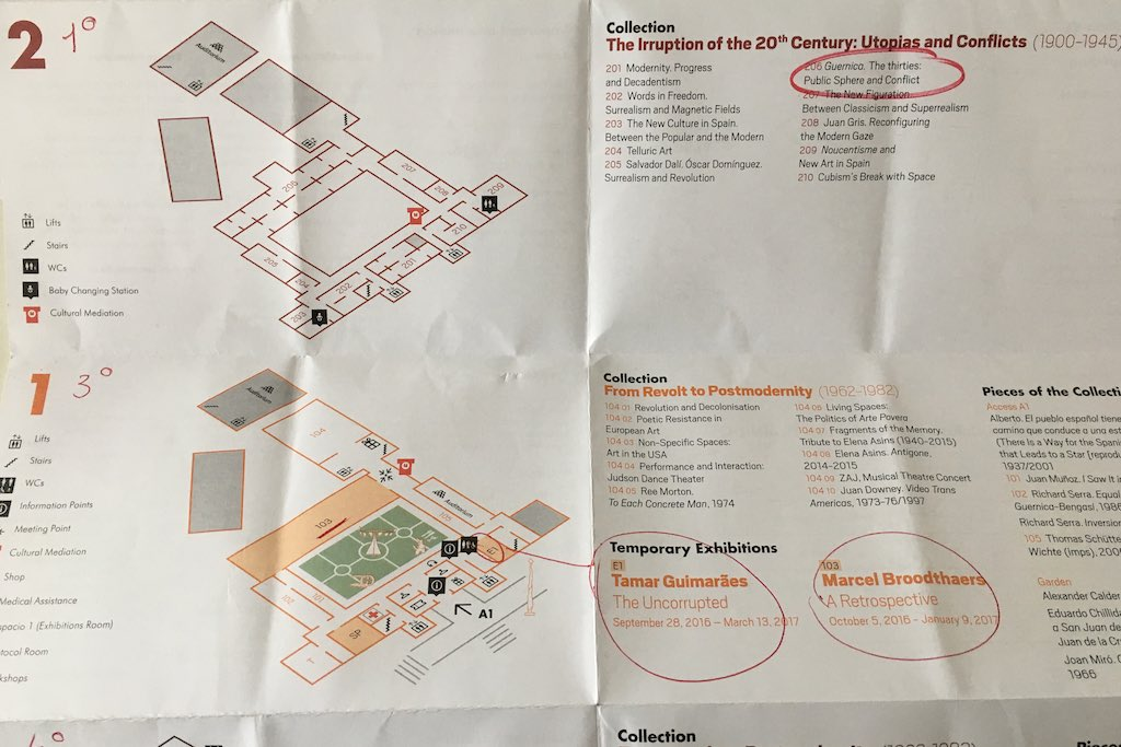 Plan des Museo Reina Sofia mit Notizen.