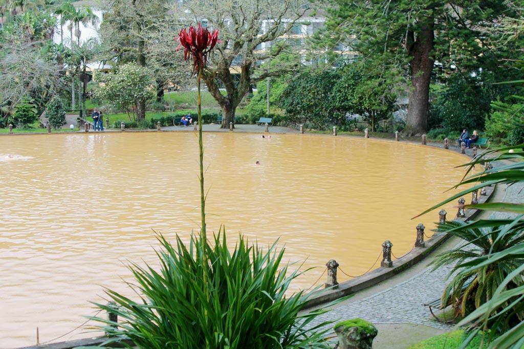 Garten Eden: 39 Grad warm ist das Wasser im großen Thermalbecken von Furnas – eine gewaltige Badewanne! Die rötliche Färbung kommt von dem hohen Eisengehalt. Es gibt mehrere heiße Quellen in Furnas und Umgebung sowie zwei Thermalbäder.