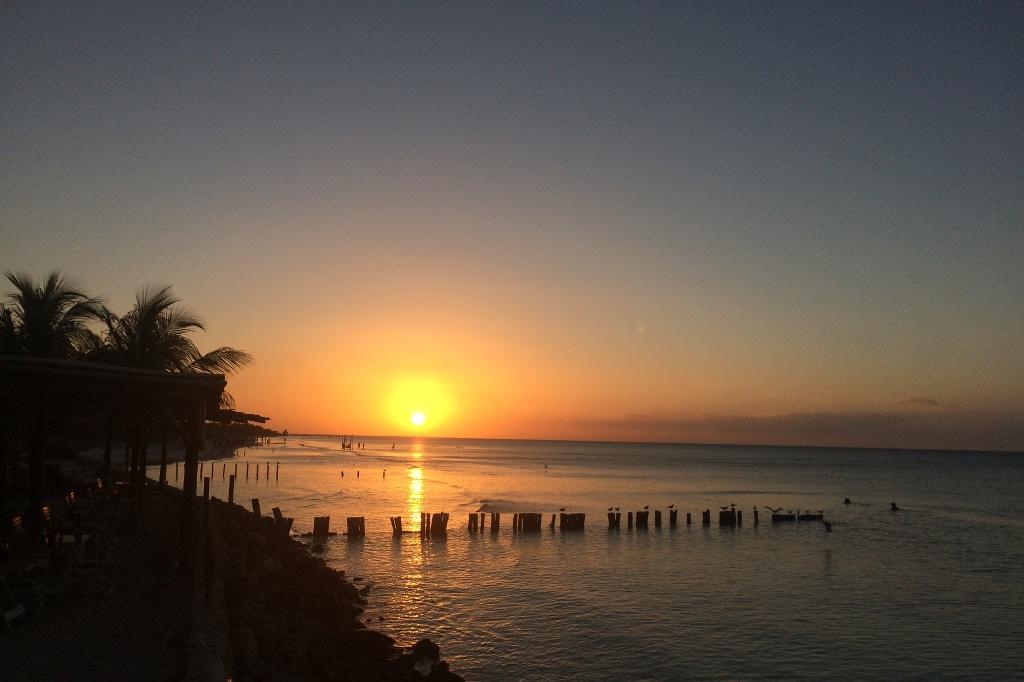 Sonnenuntergang am Strand der Isla Holbox.