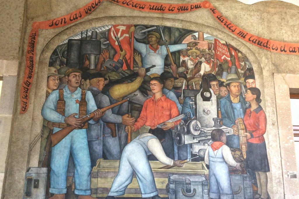 Gemälde von Diego Rivera in Mexiko Stadt.