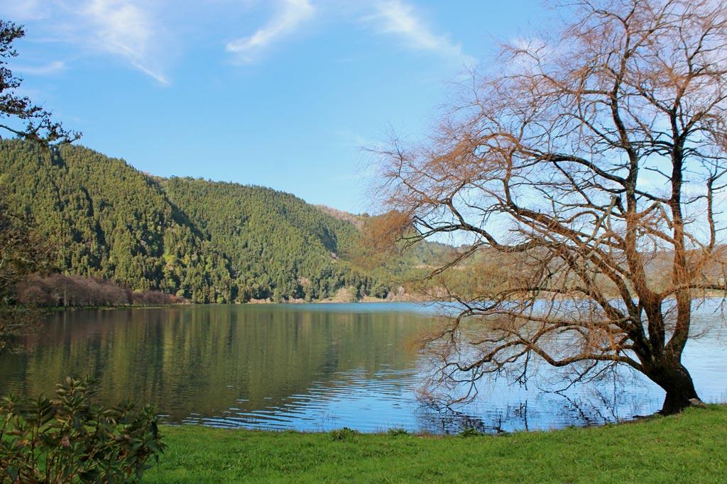 Azoren Paradies: Der See von Furnas auf der Azoreninsel São Miguel von einer Parkanlage aus gesehen, die ein Naturschutzzentrum mit angeschlossener Forschungsstation und kleinem Museum umgibt.