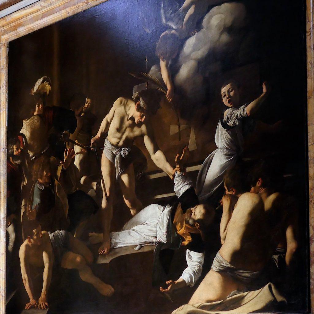 Der Maler Caravaggio porträtiert sich selbst im Martyrium des Heiligen Matthäus.