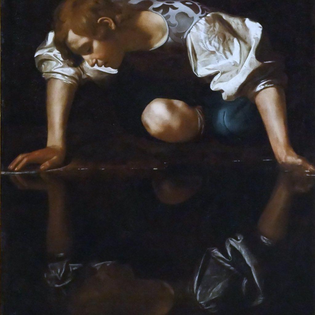 Der Knabe Narzissus am Seeufer gemalt von Michelangelo da Merisi.
