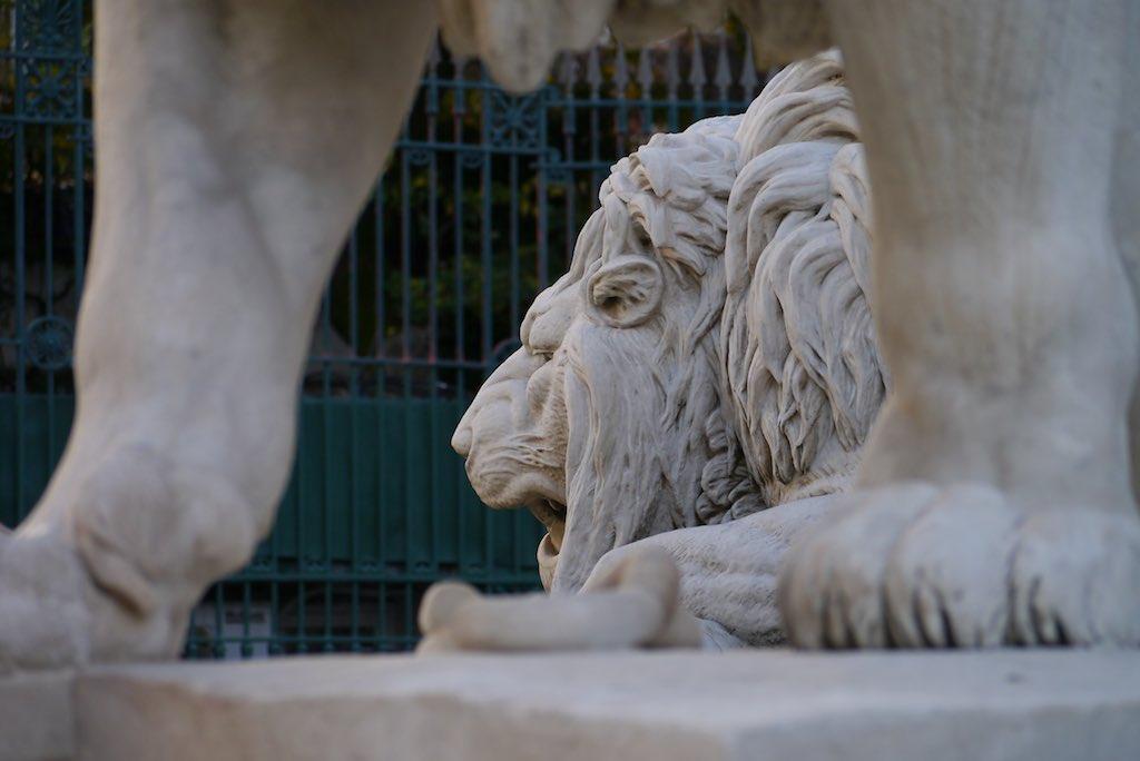 Marmorne Löwen auf der Piazza Indipendenza.