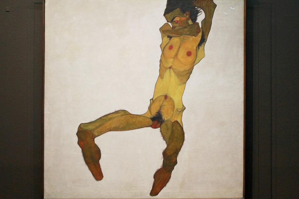 Wien: Selbstbildnis Egon Schieles als sitzender Männerakt (1910)