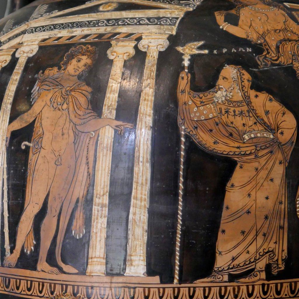 Rotfigurige Vase aus dem Museum Jatta in Ruvo mit einem jungen Mann, der in einem Tempel steht.