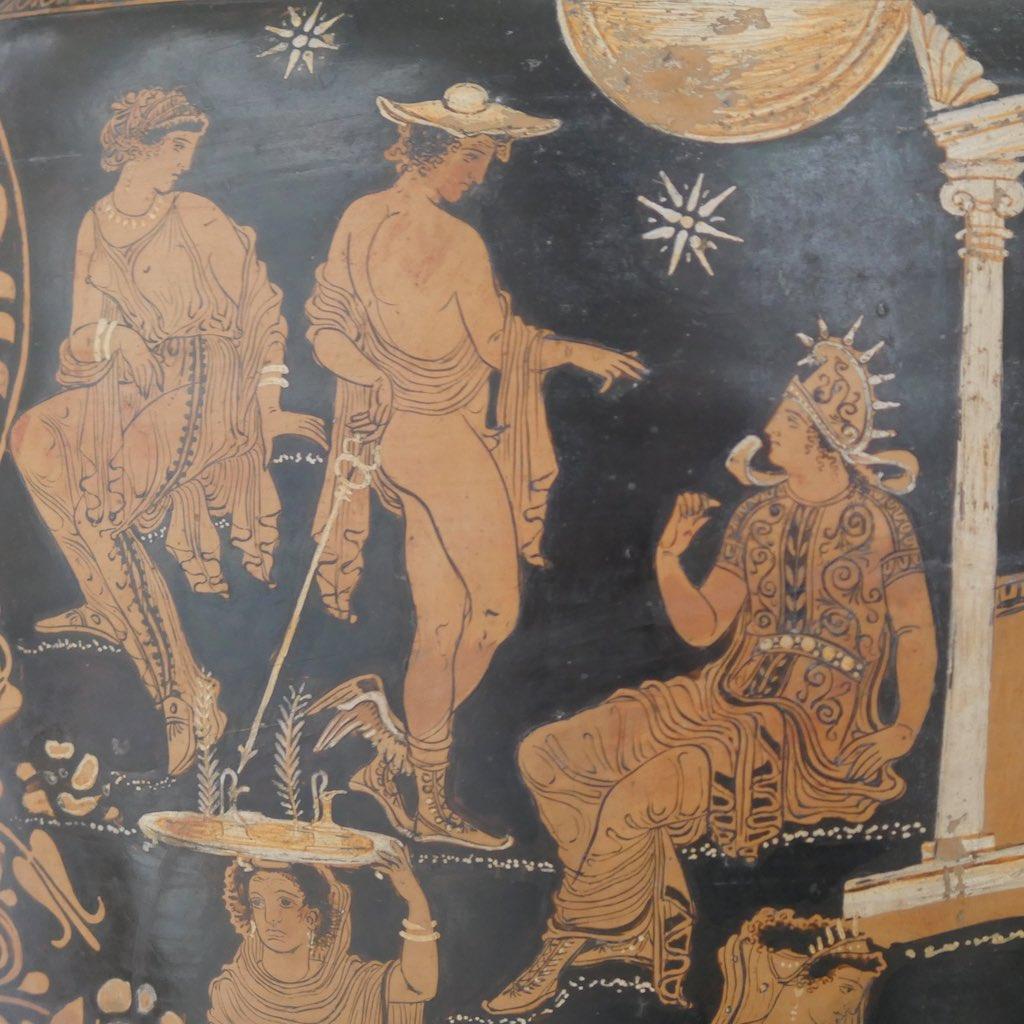 Griechische Vase mit der Darstellung des Hermes.
