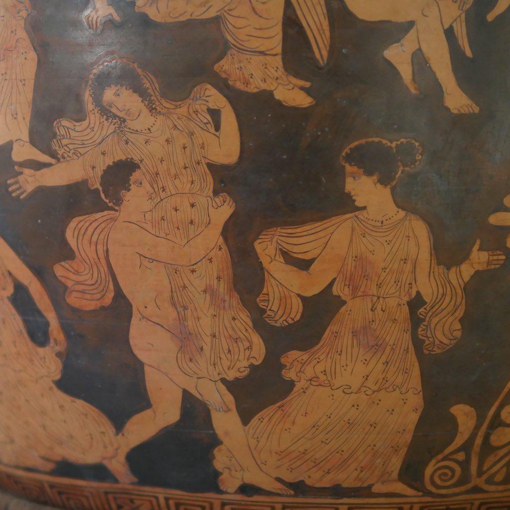 Griechische Vase mit dem Raub der Töchter des Lekippos.