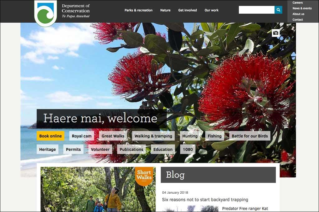Screenshot der Neuseeland Website des Department of Conservation. Den Hintergrund bildet eine große rote Blüte des Pohutukawa Baumes