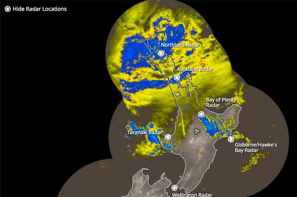 Website mit dem Wetterradar von Neuseeland.