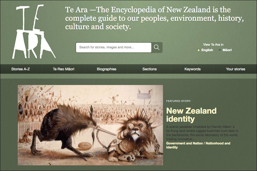 Screenshot der Neuseeland Website Te Ara.
