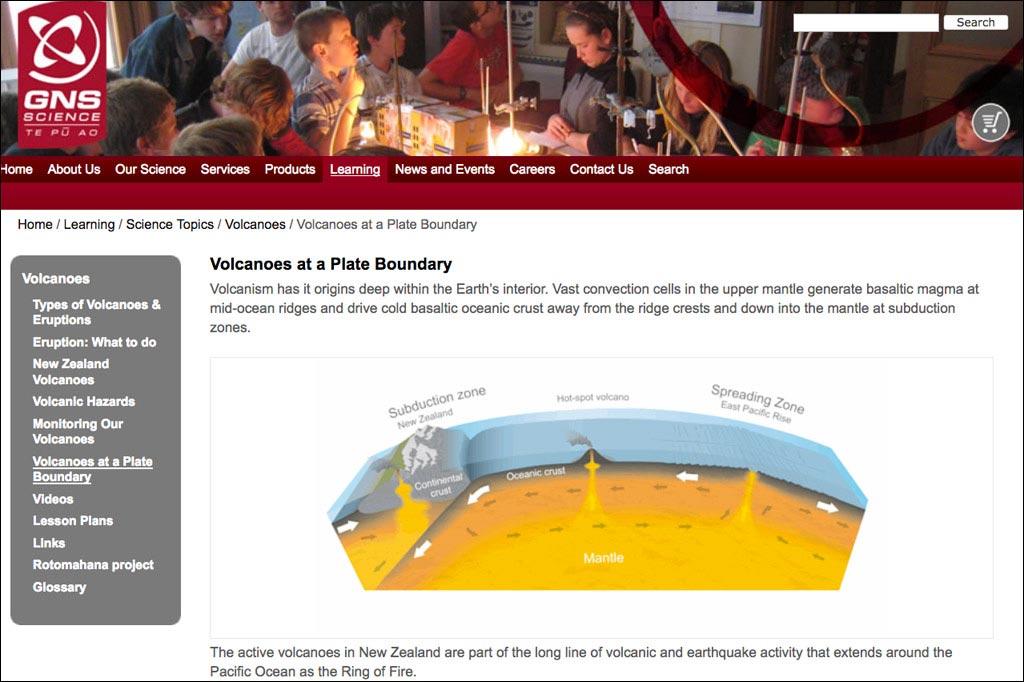 Website des Instituts für Geologie und Nuklearwissenschaft in Neuseeland.