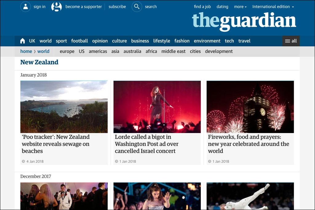 Screenshot der Website des Guardian