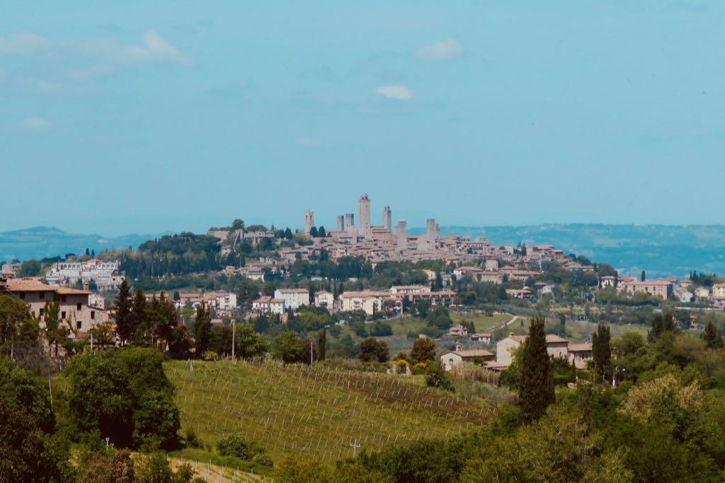 Blick aus der Ferne auf die Geschlechtertürme von San Gimignano. Die Stadt liegt auf einem Hügel. Im Vordergrund ein Weinberg.