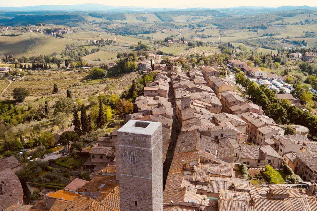 Luftbild von San Gimignano.