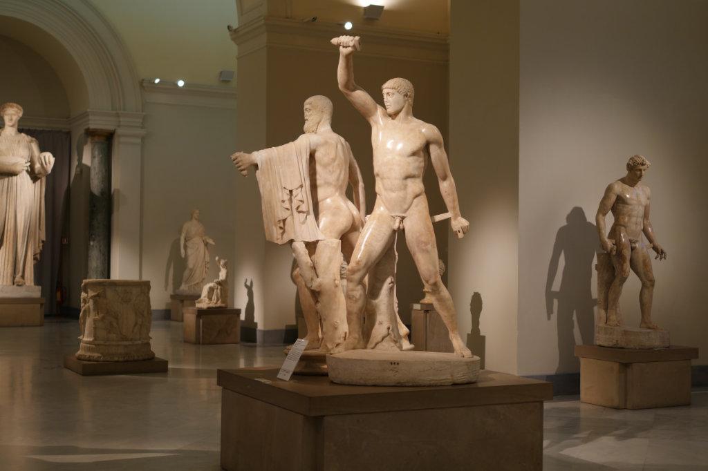 Die Tyrannenmörder, griechischen Skulptur im Archäologischen Nationalmuseum Neapel.