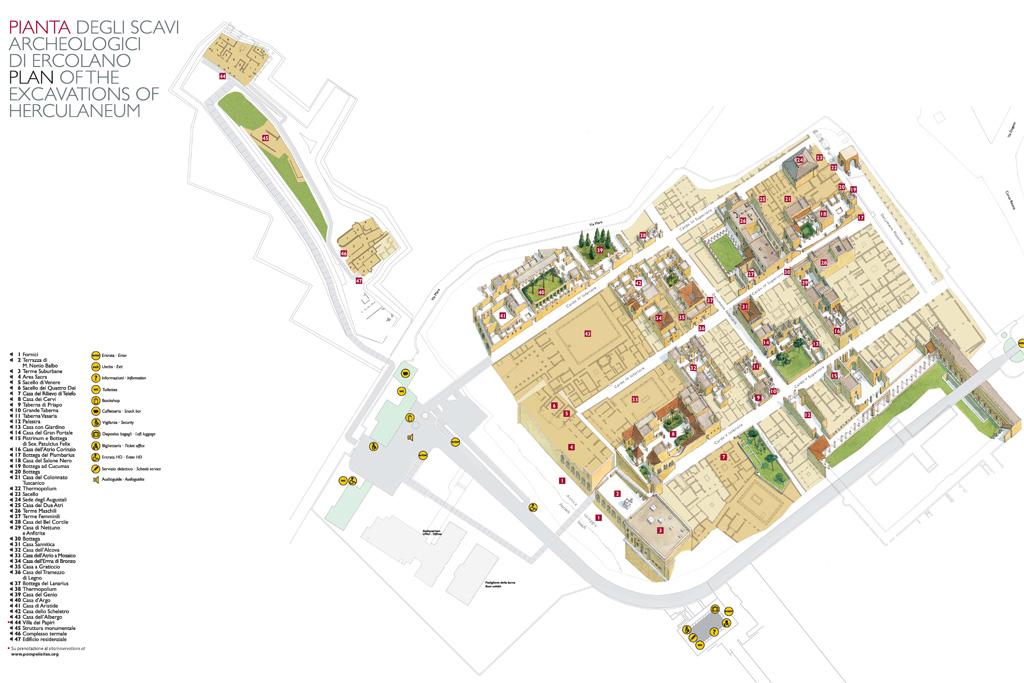 Plan der archäologischen Ausgrabungen in Herculaneum.