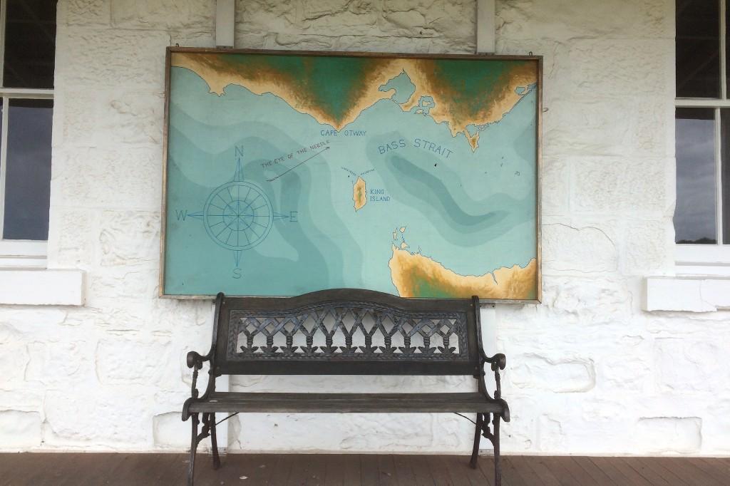 Seekarte mit der Küste entlang der Great Ocean Road.