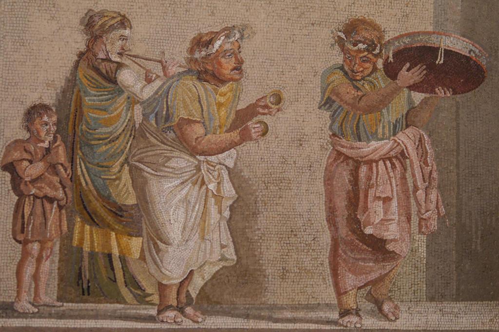 Mosaik mit drei Musikern aus dem Archäologischen Nationalmuseum Neapel.