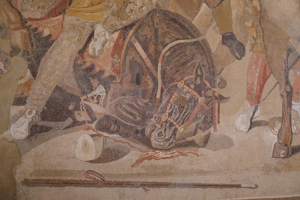 Pferdekopf aus dem Mosaik der Alexanderschlacht aus dem Nationalmuseum Neapel.