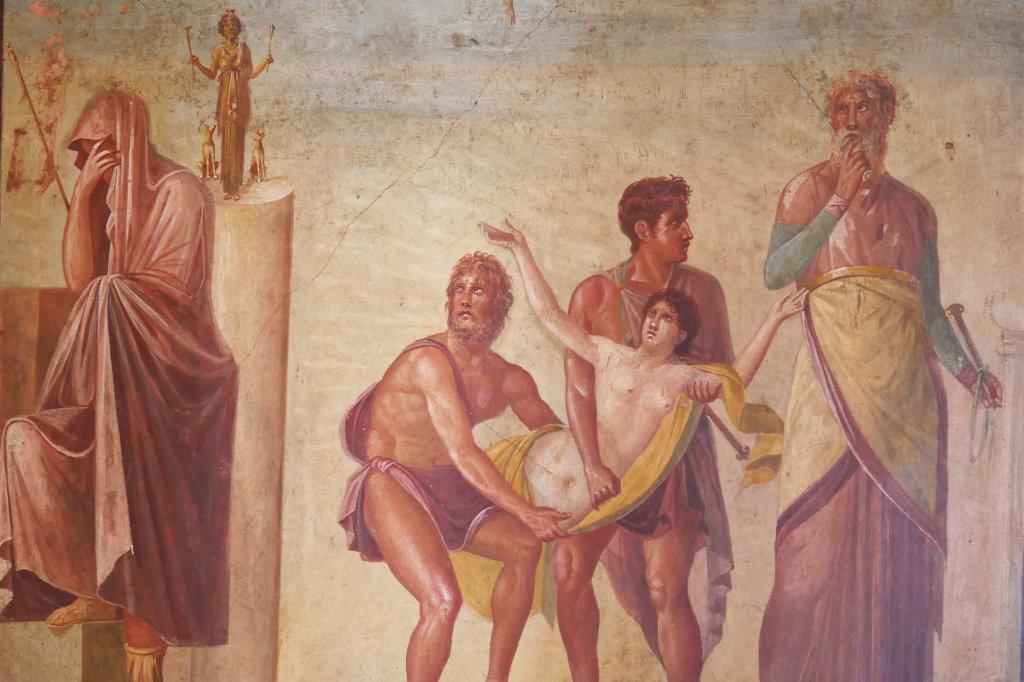 Fresko im Archäologischen Nationalmuseum Neapel mit der Opferung der Iphigenie.
