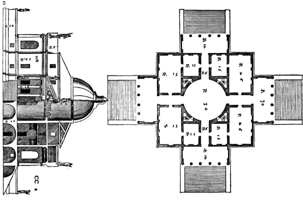 Eine Grundrisszeichnung in schwarz weiß.
