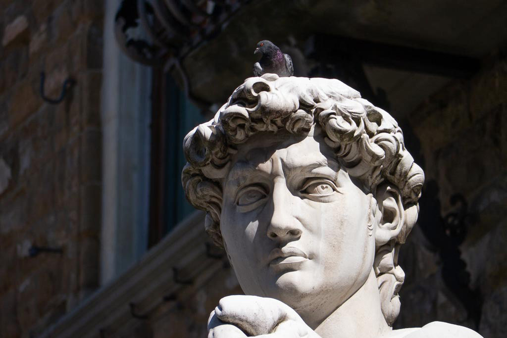 David von Michelangelo vor dem Palazzo Vecchio in Florenz.