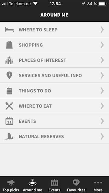 Screenshot der Firenze Card App mit einem Auswahlmenü zu Flornz Tipps wie Sehenswürdigkeiten, Shopping oder Restaurants