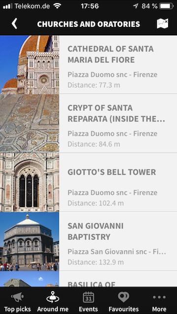 Screenshot der Firenze App mit einer Auswahl an Florenz Sehenswürdigkeiten.